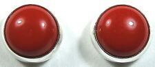 6mm Genuine Red Coral 925 Sterling Silver Stud Post Earrings - Hand Made in USA