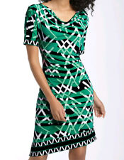 "$148 BCBG EMERALD COMBO ""QNI6H672' S/SLEEVE SHIRRED JERSEY DRESS NWT XS"