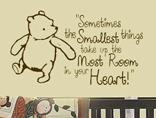 """Classic Winnie the Pooh Saying """"Smallest Things"""" Room Decor Vinyl Wall Decal Art"""