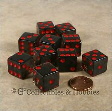 NEW 10 Transparent Smoke Gray w Red Pips D6 6 Sided RPG Bunco Game Dice Set