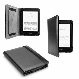 Premium Black Leather Case Cover with Hand-Strap for Any Gen. Kindle Paperwhite