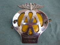 Vintage AA Auto car badge  New Coventry St. London W 1