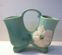 "vintage Weller art pottery matte green wild rose double vase 8"""