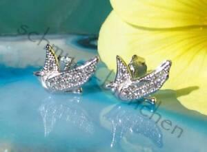 Boucle D'Oreille Oiseaux Pigeon Sterling Argent 925 Zircon Blanc Goujon