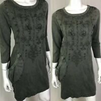 NWT $148 Hand Embroidered Olive Knit Cotton Pocket Caite Gia Dress Anthropologie