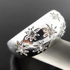 A1+A130 GENUINE REAL 925 STERLING SILVER S/F LADIES DIAMOND SIMULATED RING US7