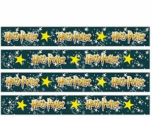 """4 x 1"""" Edible Icing Harry Potter Cake Toppers Uncut Strips FAB FOR RIBBONS"""