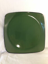 "Corelle Hearthstone Bay Leaf Green  Large Square Dinner Plate 11 1/2"" Retired"