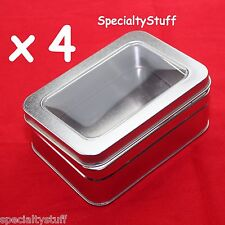 4 NEW EMPTY 12oz MED BLANK METAL TIN W/ CLEAR HINGED LID RECTANGULAR CONTAINER R