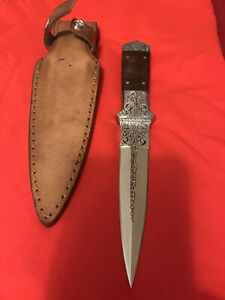 JOE KIOUS CUSTOM ENGRAVED DAGGER KNIFE -SHEATH- LOVELESS ERA