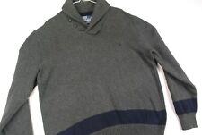 Polo Ralph Lauren Shawl Collar Pullover Sweater Gray Nautical Mens XL Striped