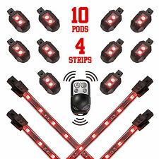 10 Pod 4 Strip 12V Motorcycle Neon Accent Light Wireless Remote Control - RED