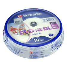 10pcs DVD+R DL 8.5GB 8X 240min Inkjet Printable Blank Media Disc Spindle Pack