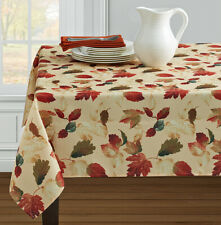 """Thanksgiving Fall Tablecloth Fall Leaves Tablecloth 60""""x 84"""" OVAL Easy Care Poly"""