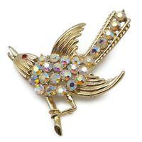 B.S.K. Light Gold Tone Aurora Borealis Rhinestone Bird Brooch Scarf Lapel Pin