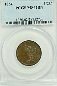 1854 Braided Hair Half Cent : PCGS MS62BN