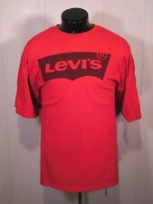 LEVIS MENS T SHIRT XXXL GRAPHIC BAT WING LOGO SHORT SLEEVE RED COTTON