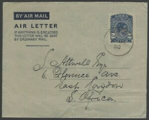 Aden KGVI King George VI 6a air letter used to South Africa