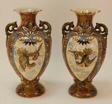 New listing Pair Of Signed Japanese Satsuma Vases Antique Flying Dragons Art Deco Nice