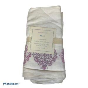 New Pottery Barn Baby Cassandra Belgian Flax Linen Crib Skirt Purple Detail