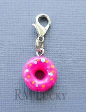 Pink Doughnut Dangle Clip On Charm Lobster Clasp Fits Link Chain, locket C128