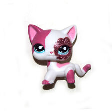 Littlest Pet Shop Glitter Sparkle White Pink Short Hair Siamese Cat Figure Toy