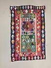 Small Vintage Turkish Kilim 131x88 cm Tribal Kelim Rug, Black, Red, Blue, Green
