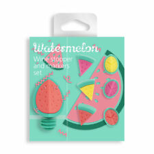 Nod Watermelon Wine Glass Charms / Drink Markers & Bottle Stopper - Set of 7