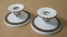 Pair of Royal Copenhagen Denmark Fajance Brown Tranquebar Candle Holders No.1796