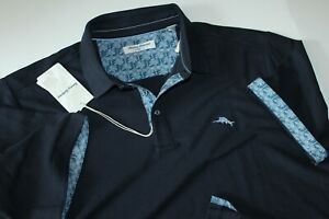 Tommy Bahama Polo Shirt 5 O'Clock Palms Blue Embroidered Pique SS New 2XLB