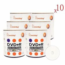 6000 Pack Smartbuy 16X DVD+R 4.7GB White Inkjet Hub Printable Blank Record Disc