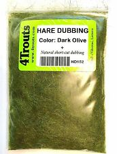 100% HARE DUBBING 4Trouts Dark Olive color for fly tying nymph and wet flies