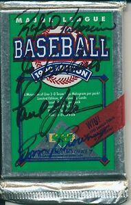 1990 UD PALMIERO DESHAIES GIBSON BROWING AUTO SIGNED CARD PACK MT 00001969