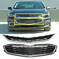 Honeycomb Mesh Chrome Front Bumper Upper&Lower Grille For Chevy Malibu 2016-2018