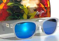 NEW* Maui Jim WAKEA Matte Clear POLARIZED Sapphire Blue Women's Sunglass B745-05