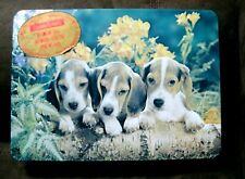 Vintage Crawfords Biscuit Tin features 3 Beagle Puppy Dogs
