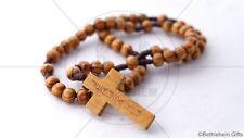 OLIVE WOOD CATHOLIC STRETCHABLE cord rosary necklace wooded Prayer HOLY LAND