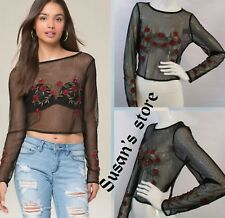NWT bebe Embroidered Dot Mesh Top SIZE XS Sheer mesh embroidered vivid roses