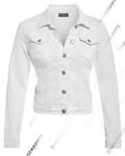 NEW DENIM JACKET Women Jeans Waist Stretch Jackets Black White Size 8 10 12 14
