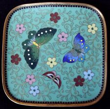 Antique Fine Japanese Butterfly Gilded Cloisonne Trinket Dish 3 3/8Ths