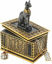 Egyptian Goddess Royal Cat Bastet Sarcophagus Ebony & Gold Trinket Box NEW