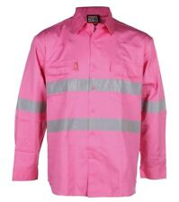Mens Work Shirt Pink Safety Hi-Vis Long Sleeve Cotton Workwear Medium Stubbies