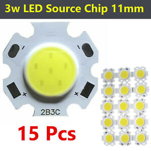 SOURCE Light COB LED CHIP Bulb Lamp SIDE 3w High Power 11mm WHITE Spotlight 15Pc