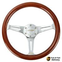 Steering Wheel 14inch Black Spoke 2/'/' Deep 350mm Walnut Wood Grain Trim Classic