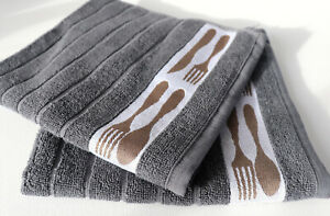 2x Handtücher Besteck Kracht Frottee Küche Tücher Frottier Messer Essen Grau