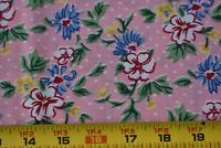 By 1/2 Yd, Vintage, Red Green Blue & Yellow Flowers on Pink Quilt Cotton, P29