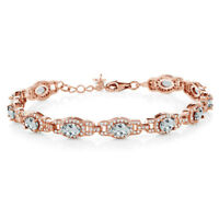 "8.33 Ct Oval Aquamarine 18K Rose Gold Plated Silver Bracelet With 1"" Extender"