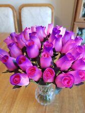 3 DOZEN - PINK/PURPLE WOODEN ROSE BUDS 5 X 8 ARTIFICIAL FLOWERS - FREE SHIPPING