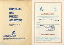 ZEKIWA Zeitz Kinderwagen 414 und Verdeck 2x Anleitung DDR 1976