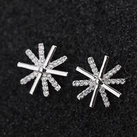 Sunflower Crystal Stud Earrings 925 Sterling Silver Womens Girls Jewellery Gift